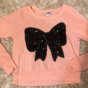 Tops - Sequin bow knit long sleeve top